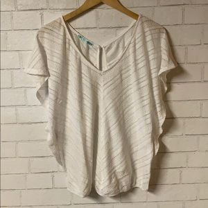 Maurice's Short Sleeve Knit Top White (XL)